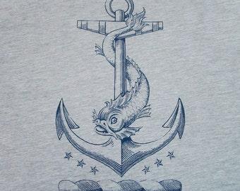 Anchor T-Shirt  -Nautical Antique Dolphin Vintage Tattoo Men's / Unisex & Ladies Sailor Heraldry Tee