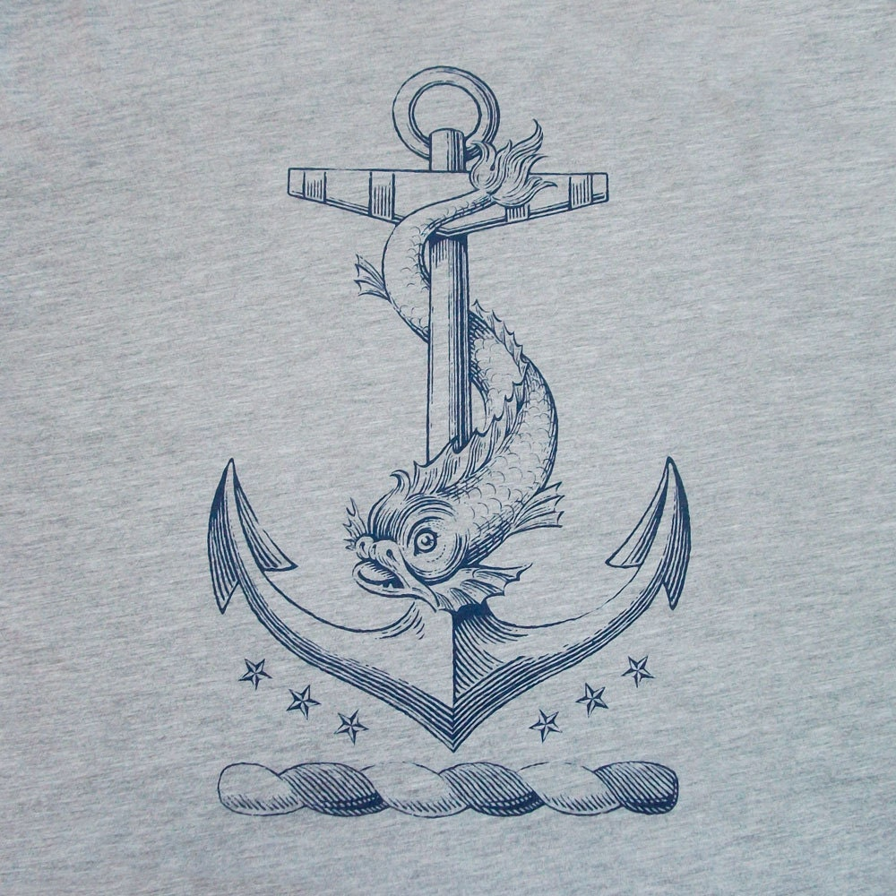 anchor t shirt nautical dolphin vintage tattoo by pointgraphicink. Black Bedroom Furniture Sets. Home Design Ideas