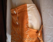 Eco-Conscious Mad Men Inspired Skirt with Pockets. Small. Orange & Cream. FREE SHIPPING in the US.