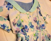 Vintage Inspired Blue and Green Floral Dress. Eco Conscious. Size Medium. FREE SHIPPING in the US.