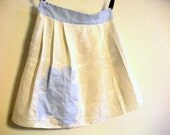 Eco-Conscious. Pleated Linen Skirt.Cream and Blue. Medium. FREE SHIPPING in the US.