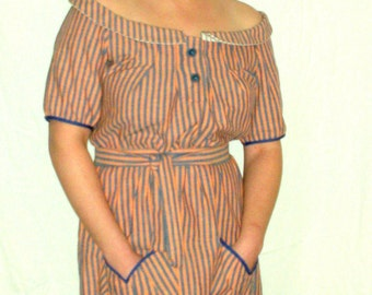 Eco Conscious, Vintage Inspired, Red and Blue Striped Dress. Size Small to Medium. FREE SHIPPING in the US.