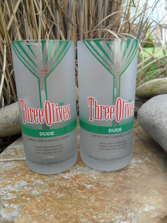 Three Olives Vodka Dude Recycled Glass Tumblers