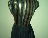 1940  Glamour Dress Gold Black WWII Formal Frock Golden Gown Nightclub Singer Medium