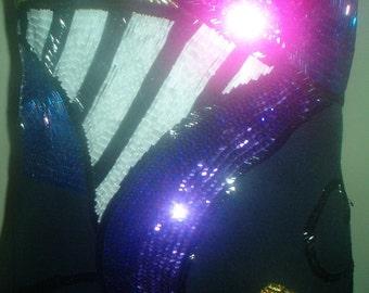 Sale Sale 80's Sparkle Dress Beads Sequins Sheath Mini Abstact Art Colorful Sexy Prom Mardi Gras medium