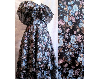 Wispy Floral Wrap-Around Dress with Cape Sleeves by Samuel Blue~Size Small VINTAGE 70s~Semi-Sheer Black with Blue/Purple/Brown Flowers