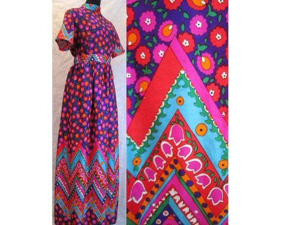 Psychedelic Flower Power Maxi Dress by Alex Colman of California-Vintage, Hippie Day-Glo Neon Pink-Orange-Blue-Purple-Green, Zig-Zag, Large