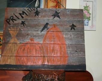 refurbished wood primitve rustic pumpkin wall hanging