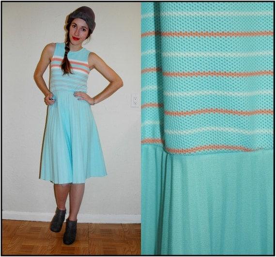S A L E   vintage 60s AQUA MARINE CORAL Striped Pleated Summer Dress