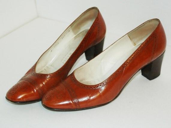 vintage 60s Rusty Brown / Burnt Orange Leather BRUNO MAGLI Heels 9 - 9.5