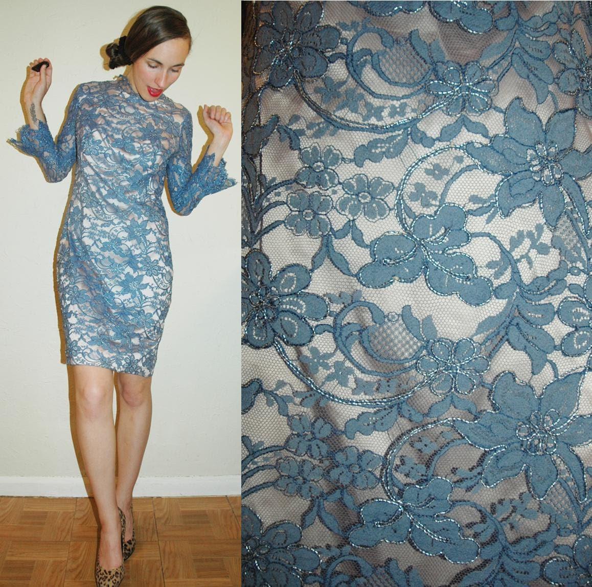 vintage 60s SLATE BLUE Bell Sleeve Cuff LACE Dress