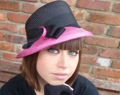 Handmade Hot Pink and Black Fascinator Like Hat