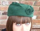 Womens Felt Hat- Green Pillbox Beret