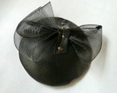 Women's Round Black  Steampunk Fascinator With Upcycled Leather,  Horsehair Bow and Studs