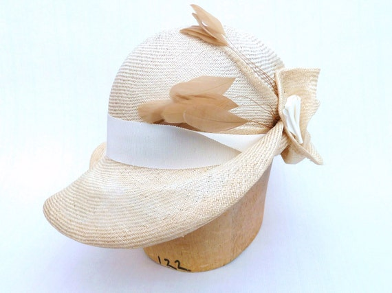 Handmade Natural Straw Cloche For Women With Feathers and Ivory Trim