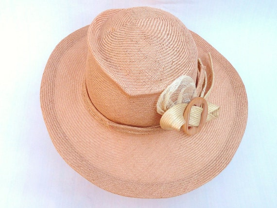 Pink Peach Summer Straw Hat With Natural Trim Bow