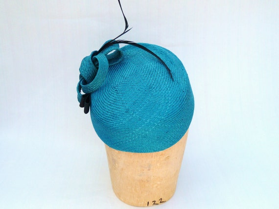 Handmade Women's Turquoise Straw Pillbox Fascinator Cocktail Hat With Black Feathers