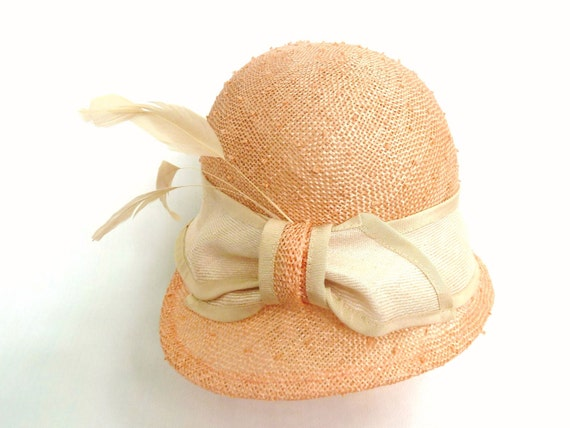 RESERVED Custom Listing For Katie-  Peach Summer Straw Cloche Hat With Natural Trim Bow and Tan Stripped Coque Feathers