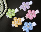 Girls Hair Accessories-Baby Bows-Hair Clips-Gingham-Flower-Hair Clippies-Hair Clippie-Non Slip-Dog-Hair Bows-Set of 5-by DeeZignZz on etsy
