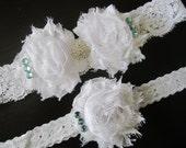 Wedding Garter, White and Blue Garter Set, Vintage Garter Set, Bridal, Garder