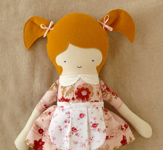 Fabric Doll with Floral Dress and Apron