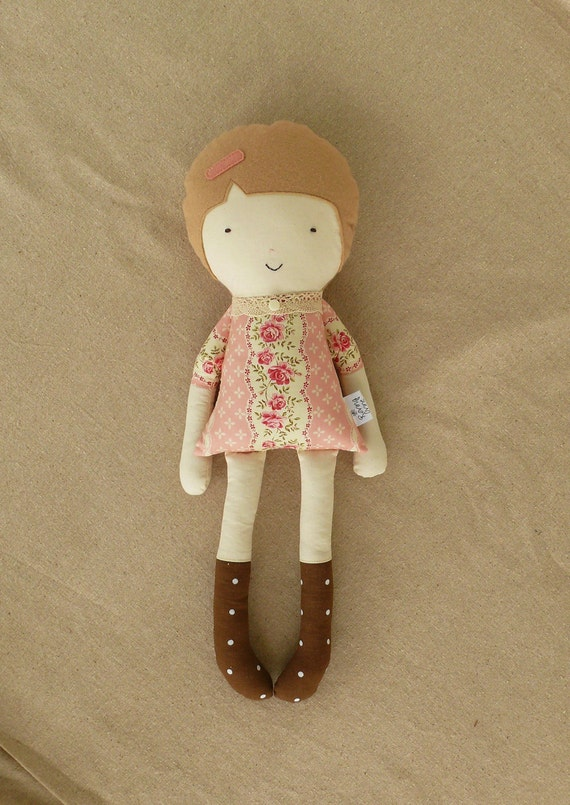 Handmade Fabric Doll Rag Doll in Pink