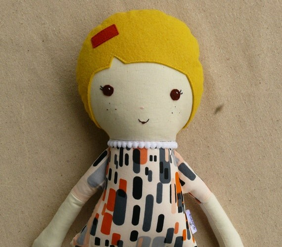 Handmade Fabric Doll Rag Doll with Polka Dotted Boots