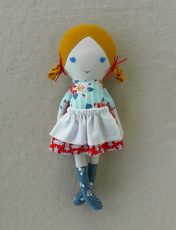Fabric Doll Rag Doll with Braids and Skirt
