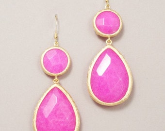Stone Drop Earrings Beautiful for Bridesmaids // Double Drop Stone Earrings // Color Block Earrings