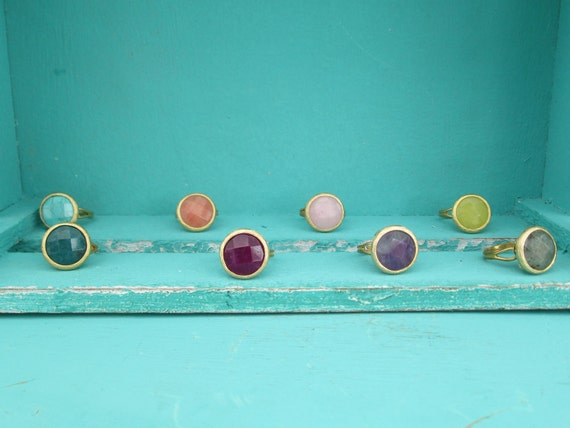 Adjustable Round Stone Ring in Matte Gold Setting