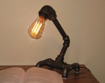 Insustrial Black Metal Pipe Desk Lamp w/ Touch Dimmer