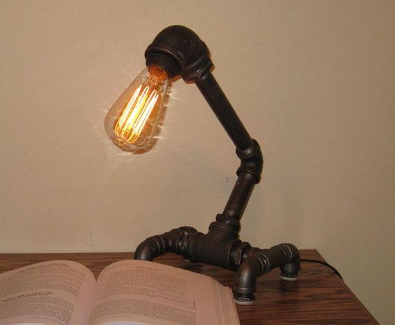 Insustrial Black Metal Pipe Desk Lamp