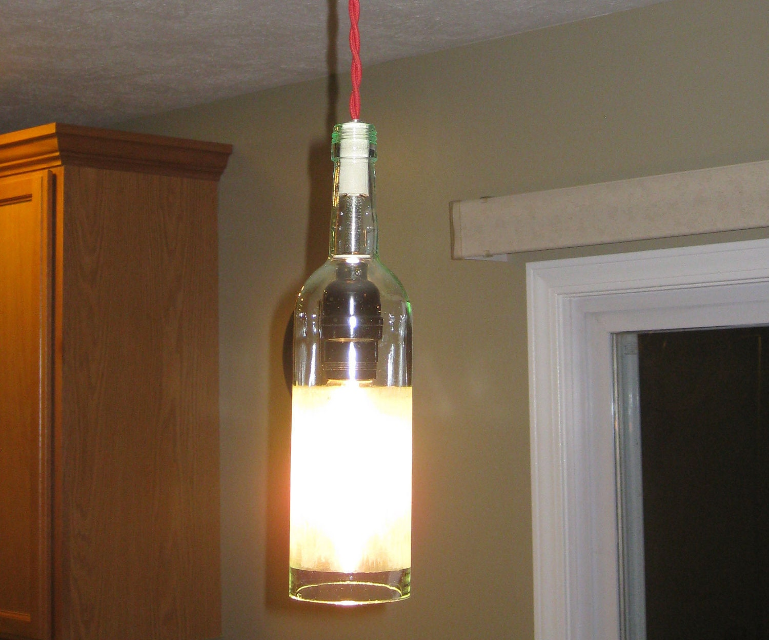 Wine bottle pendant light by miltondouglaslampco on etsy - Wine bottle pendant light ...