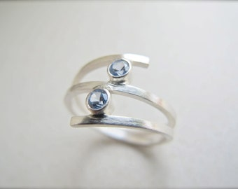 Double Aquamarine Ring in Sterling Silver