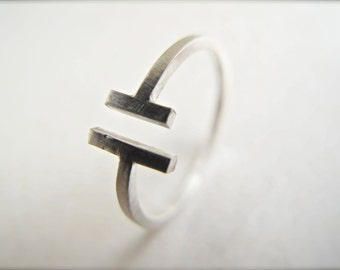 Bars Adjustable Ring - Lines Ring - Sterling Silver