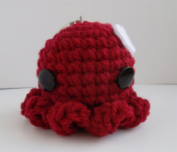 Valentine's Day Heart Dark Red Octopus Amigurumi Keychain