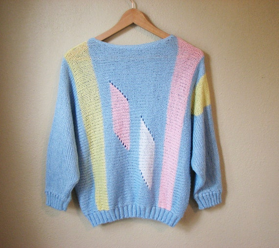 Vintage Dolman Sweater - Color Block Knit Sweater - Geometric - Pastel Fashion - Slouch - Woven Sweater - 90s Fashion