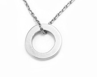 """Handmade """"Circle of Life"""" Women's Sterling Silver Necklace with 16"""" Chain"""