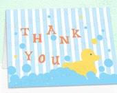 Rubber Ducky Printable Thank You Note Card, Instant Download - Digital File, DIY