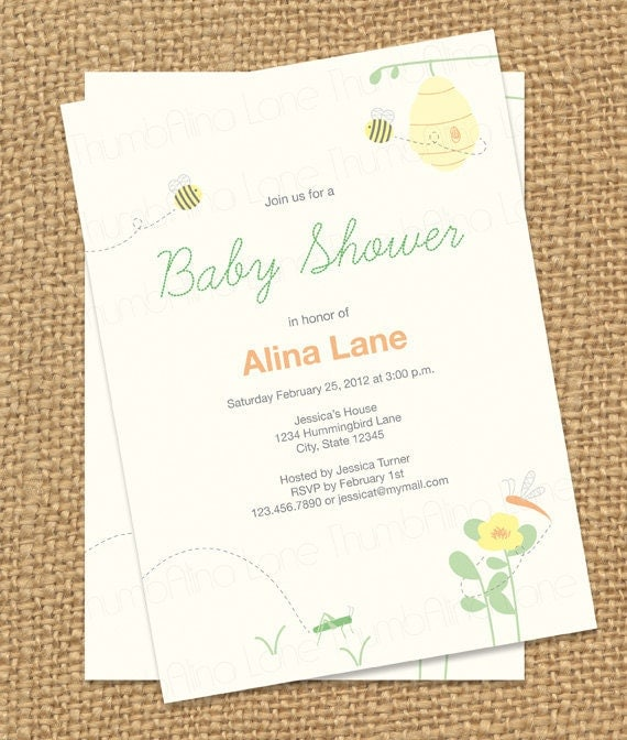 Bumble Bee Baby Shower Printable Invitation - Digital File, PRINTABLE, D.I.Y.