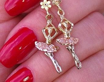Gorgeous Vintage 14k gold Dancing Balerina Earrings 3.3 gramms