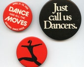 DANCERS 3 buttons 1970-80s / AMAZING Lithographed Dancing Card 1870s