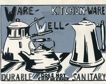 KITCHEN ORIGINAL, Still Life, c.1937, Vintage Home Art Instruction, Hand Done Gouache by Alma Rice, Springfield, Massachusetts