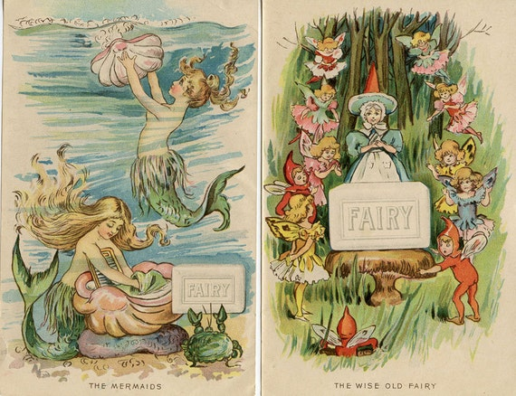 MERMAIDS and ELVES FAIRY Soap 2 Prints from 1898 Advertising Booklet