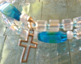 Turquoise Milliriore and Clear Glass Cube Coil Wrap Rosary Bracelet
