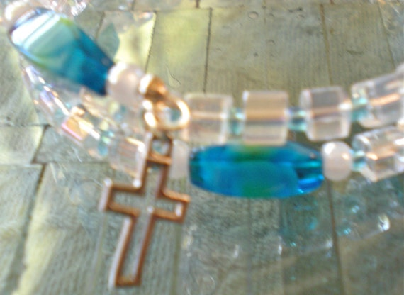 Turquoise and Glass Cube Rosary Bracelet