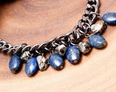 Lapis and Pyrite Smie-Previous Stones Gunmetal Chain Necklace