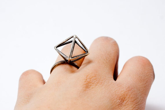 Sterling Silver Geometric Diamond Ring, chunky and modern