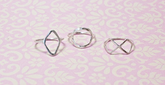 Geometric Set Sterling Silver Rings