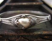 Antique Bracelet, Art Nouveau Glass Pearl Floral Bracelet in Sterling Silver circa 1900